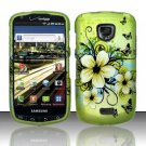 Hard Plastic Rubber Feel Design Case for Samsung Droid Charge - Green Flowers and Butterfly