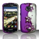 Hard Plastic Rubber Feel Design Case for Samsung Droid Charge i510/i520 - Silver and Purple Vines