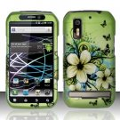 Hard Plastic Rubber Feel Design Case for Motorola Photon 4G - Green Flowers and Butterfly