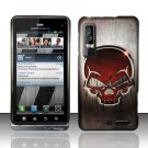 Hard Plastic Rubber Feel Design Case for Motorola Droid 3 - Red Skull
