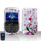 Hard Plastic Rubber Feel Design Case for Blackberry Curve 8520 - Silver and Pink Flowers