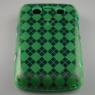 Crystal Gel Check Design Skin Case for Blackberry Bold 9700/9780 - Green