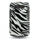 2-in-1 Hard Rubber Cover Case + Black Silicone Skin for Blackberry Bold - Silver and Black Zebra