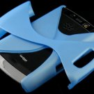 Hard Plastic Rubber Feel Twisted Case for Blackberry Storm 2 9520/9550 - Sky Blue