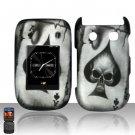 Hard Plastic Rubber Feel Design Case for Blackberry Style 9670 - Ace of Spade Skull