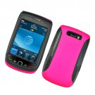 Hard Plastic Rubber Feel Hybrid Case for Blackberry Torch 9800 - Hot Pink and Black