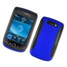 Hard Plastic Rubber Feel Hybrid Case for Blackberry Torch 9800 - Blue and Black