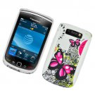 Hard Plastic Rubber Feel Hybrid Design Case for Blackberry Torch 9800 - Dual Pink Butterfly