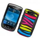 Hard Plastic Rubber Feel Hybrid Design Case for Blackberry Torch 9800 - Abstract Zebra