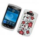 Hard Plastic Rubber Feel Hybrid Design Case for Blackberry Torch 9800 - Elegance Red Flowers