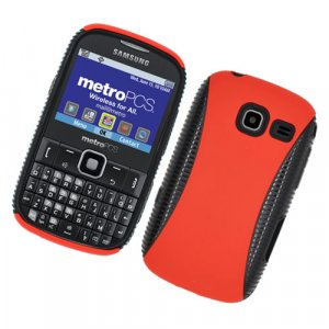 Hard Plastic Hybrid Case for Samsung Freeform III R380 - Red and Black
