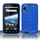 Crystal Gel Check Design Skin Case for Motorola Atrix 4G MB860 - Blue