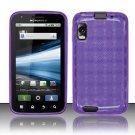 Crystal Gel Check Design Skin Case for Motorola Atrix 4G MB860 - Purple
