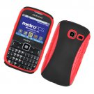 Hard Plastic Hybrid Case for Samsung Freeform III R380 - Black and Red