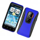 Hard Plastic +TPU Hybrid Case for HTC Evo 3D - Blue and Black