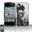 Hard Plastic Rubber Feel Design Case for Apple iPhone 4/4S - Silver and Black Vines