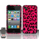 Hard Plastic Rubber Feel Design Case for Apple iPhone 4/4S - Hot Pink Leopard