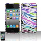 Hard Plastic Rubber Feel Design Case for Apple iPhone 4/4S - Rainbow Zebra