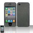 Hard Plastic Rubber Feel Design Case for Apple iPhone 4/4S - Carbon Fiber