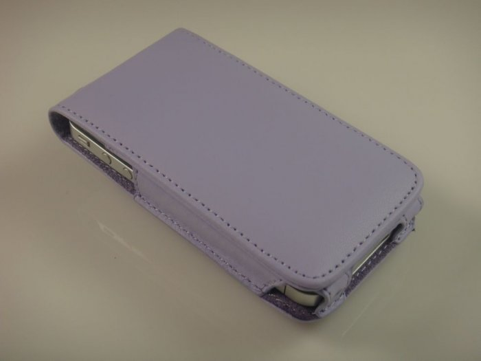 Vertical Leather Flip Cover Case With Rotating Belt Clip for Apple iPhone 4/4S - Lavender
