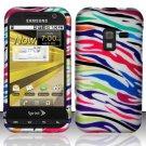 Hard Plastic Rubber Feel Design Case for Samsung Conquer 4G D600 - Rainbow Zebra
