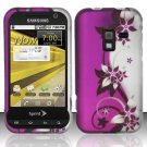 Hard Plastic Rubber Feel Design Case for Samsung Conquer 4G D600 - Silver and Purple Vines