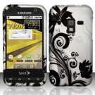 Hard Plastic Rubber Feel Design Case for Samsung Conquer 4G D600 - Silver and Black Vines