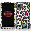 Hard Plastic Rubber Feel Design Case for Motorola Droid Bionic Targa XT875 - Rainbow Leopard