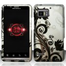 Hard Plastic Rubber Feel Design Case for Motorola Droid Bionic Targa XT875 - Silver and Black Vines