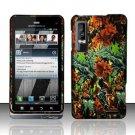Hard Plastic Rubber Feel Design Case for Motorola Droid 3 - Hunter Flowers