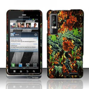 Hard Plastic Rubber Feel Design Case for Motorola Droid 3 - Hunter Flowers