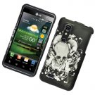 Hard Plastic Rubber Feel Design Case for LG Thrill 4G - Black Skull and Angel