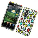 Hard Plastic Rubber Feel Design Case for LG Thrill 4G - Rainbow Leopard