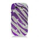 Hard Plastic Bling Rhinestone Design Case for Blackberry Torch 9850/9860 - Silver and Purple Zebra