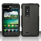 Hard Plastic Rubber Feel Design Case for LG Thrill 4G - Carbon Fiber