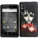 Hard Plastic Rubber Feel Design Case for Motorola Droid 3 - Black and White Zombie
