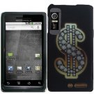Hard Plastic Rubber Feel Design Case for Motorola Droid 3 - Dollar Sign