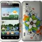 Hard Plastic Rubber Feel Design Case for LG Marquee LS855 - White Flower