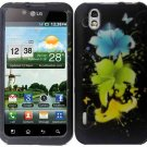 Hard Plastic Rubber Feel Design Case for LG Marquee LS855 - Magical Flower