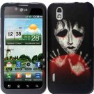 Hard Plastic Rubber Feel Design Case for LG Marquee LS855 - Black Zombie