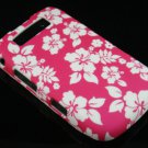 Hard Plastic Rubber Feel Design Case for Blackberry Torch 9800 - Pink Hawaiian Flowers