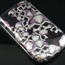 Hard Plastic Design Case for Blackberry Torch 9800 - Black Skulls