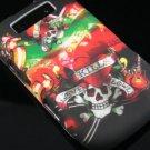 Hard Plastic Rubber Feel Design Case for Blackberry Torch 9800 - Heart and Skulls