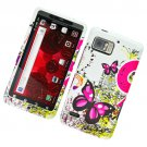 Hard Plastic Rubber Feel Design Case for Motorola Droid Bionic Targa XT875 - Pink Butterfly