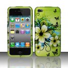 Hard Plastic Rubber Feel Design Case for Apple iPhone 4/4S - Green Flower and Butterfly