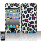Hard Plastic Rubber Feel Design Case for Apple iPhone 4/4S - Rainbow Leopard