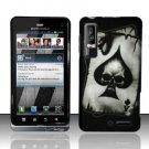 Hard Plastic Rubber Feel Design Case for Motorola Droid 3 - Ace of Spade Skull