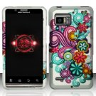 Hard Plastic Rubber Feel Design Case for Motorola Droid Bionic Targa XT875 - Purple and Blue Flowers