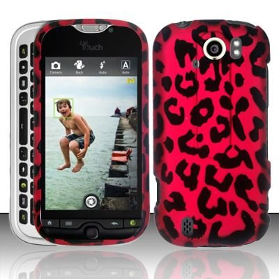 Hard Plastic Rubber Feel Design Case for HTC Mytouch Slide 4G - Hot Pink Leopard