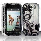 Hard Plastic Rubber Feel Design Case for HTC Mytouch Slide 4G - Silver and Black Vines